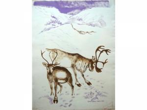 Rener i fjeldet - Gouache - 1958